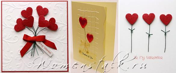 открытка своими руками букет из сердец